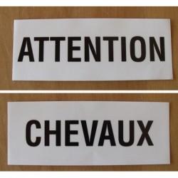 """Adhésif """"attention"""" """"chevaux"""""""