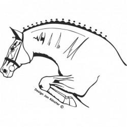 Motif cheval à l'obstacle,...